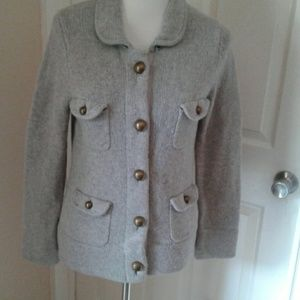 Boden WK536 Grey Wool Button Front Cardigan